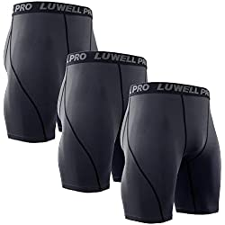 LUWELL PRO 3 Piezas Mallas Hombre de Secado Rápido para Pantalon Corto Hombre Deporte para Gym, Yoga, Running(Gris-S)