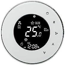 Termostato Wi-Fi per Caldaia a Gas,Termostato intelligente Schermo LCD(VA Schermo) Touch Button Retroilluminato Programmabile con Alexa etc e Telefono APP-Rotondo/Bianco