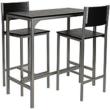 ts-ideen Comedor y Dos Sillas Marco de Aluminio Fibra de Madera Gris y Negro 76 x 83 cm Cocina