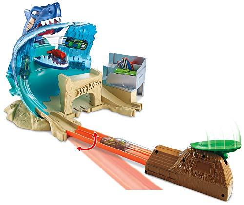 Hot Wheels- Mega Playset Sfida Lo Squalo per Macchinine con Un Lanciatore a Forma di Capanno Esotico, Gioco per Bambini di 4 + Anni, Colore Altro, Norme, FNB21