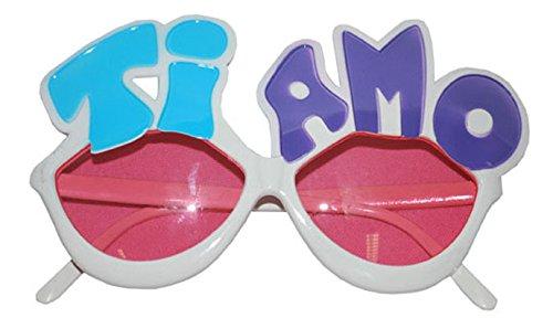 Brille Ti Amo mit rosa Gläsern weiße Brille mit rosa klaren Gläsern und aufgesetzter Aufschrift Accessoires