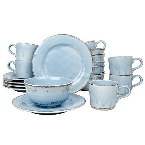 Landhaus Geschirr Set 18-teilig | Tosca | Frühstück Service Tasse Müslischale Teller Kombi Shabby Chic (Blau) (Landhaus Geschirr)