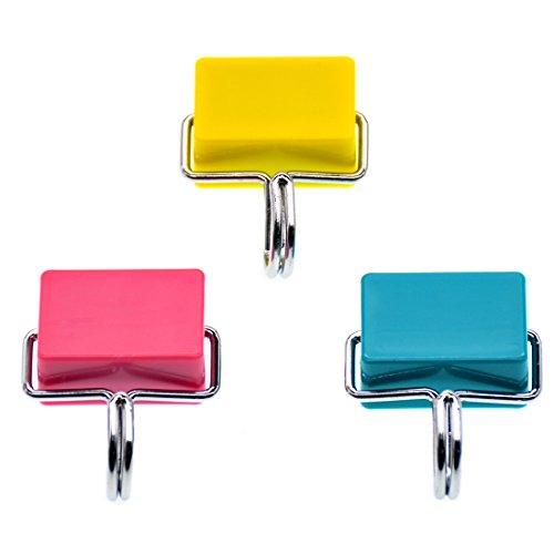 Jleru multiuso magnetico per frigorifero ganci appendiabiti da porta, colore: rosa pastello, colore: giallo, confezione da 3 grucce, colore: blu