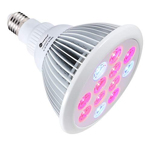 TaoTronics Pflanzenlampe E27 12W LED Pflanzenlampen Wachstum Tageslicht Pflanzenleuchte für Garten Gewächshaus Zimmerpflanzen, Blüte, Blumen und Gemüse