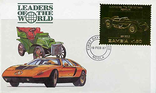 Zambia 1987 Classic Cars 1k50 Ferrari in 22k gold foil on cover with FD of iss canc, limited edition and very elusive JandRStamps