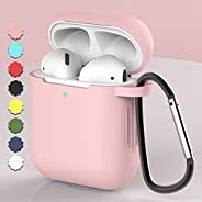 AMERTEER Airpods Case, Coffea AirPods Accessories Shockproof Case Cover Portable & Protective Silicone Skin Cover Case for Airpods 2 & 1 (Pale pink)