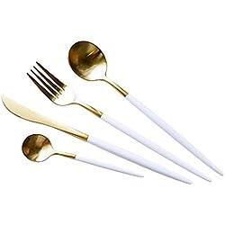COOLWEST Cuberterías Set de 4 piezas acero inoxidable Tenedores, Cucharas, Cuchillos, Cucharillas (Oro blanco)