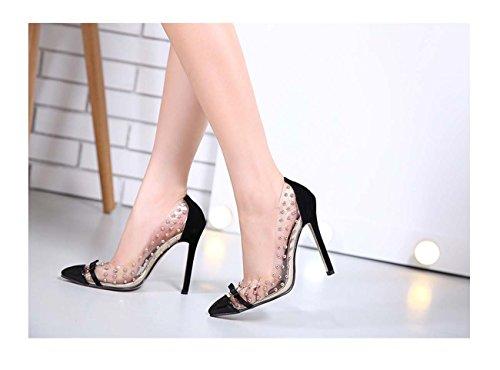 Faraly Femmes Perles Rivets Bouche Chaussures De Bow Shallow Bottes Bow Pointu Chaussures Nues De Toe Noir Couleur
