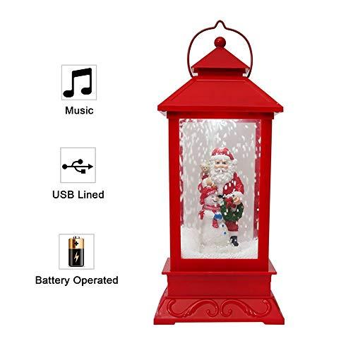 AOLVO Weihnachts-Laterne mit künstlichem Schnee, leuchtende Weihnachtsdekoration mit warmen LED-Lichtern, Weihnachtsdekoration rot
