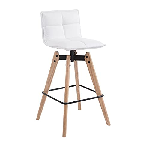 HOMCOM Bar Stool Home Dining Chair Wooden Legs and PU Leather Seat Modern Style Furniture (White)