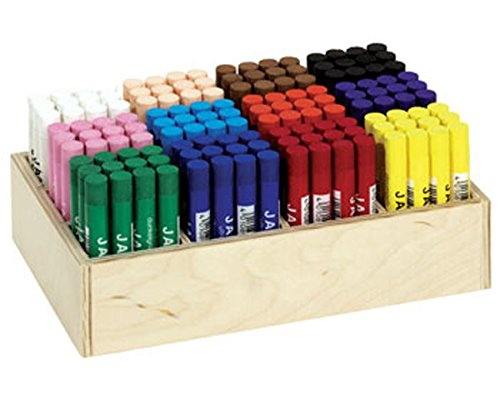 Jaxon-Holzaufsteller, 144 Kreiden in 12 Farben, Ölpastellkreiden, Trocken oder aquarelliert,...