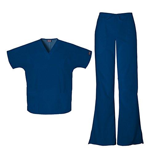 Cherokee Workwear Women's 4700 Top & 4101 Pant Medical Uniform Scrub Set - Cherokee Flare Uniform