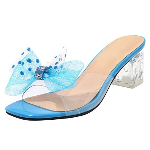 AIYOUMEI Slipper Damen Blockabsatz Pantoletten Transparent Mules mit Schleife High Heels Sandalen Durchsichtig Absatz Blau 44 EU