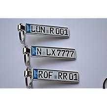 Schlüsselanhänger in Premium Qualität mit KFZ Autoschilder Wunschkennzeichen Wunschtext für Auto Audi BMW Mercedes VW OPEL MAZDA SKODA Nummernschild