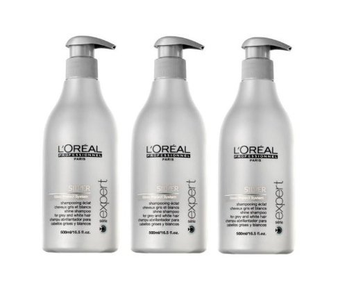 Loreal Silver Glanz-Shampoo + Pumpe 3 x 500 ml Serie Expert Gloss Protect System by L\'Oréal Paris