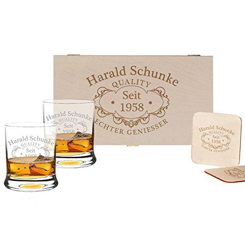 polar-effekt 5-TLG Whisky Geschenk-Set - 2 Leonardo Whiskygläser, 2 Untersetzer in Holzbox - Geschenkidee für Männer und Frauen - Personalisiert mit Gravur - Quality Whisky