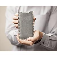 Gris housse en cuir pour Samsung Galaxy Note 8 étui pochette case coque cover. Coutures rivetées Note8