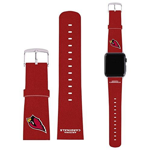 Offizielle NFL Einfarbig Arizona Cardinals Logo Rot Synthetik-Lederband & Schnalle für 42mm Strap (Schnalle Arizona)
