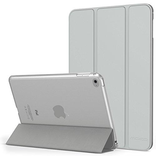 MoKo Hülle für iPad Mini 4 - PU Leder Tasche Schutzhülle Schale Smart Case mit Translucent Rücken Deckel, mit Auto Schlaf / Wach Funktion und Stanfunktion für Apple iPad Mini 4 2015 Genaration 7.9 Zoll IOS Tablet, Silber
