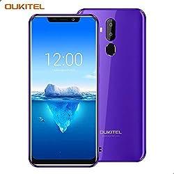 """OUKITEL C12 Pro – 4G Smartphone Libre DE 6.18"""" HD 19:9 IPS con Antihuellas Quad-Core 2 + 16GB SIM Doble Telefonos Moviles Android 8.1 Cámara 8MP+5MP Face ID 3400mAh Batería Versión Europea - Morado"""