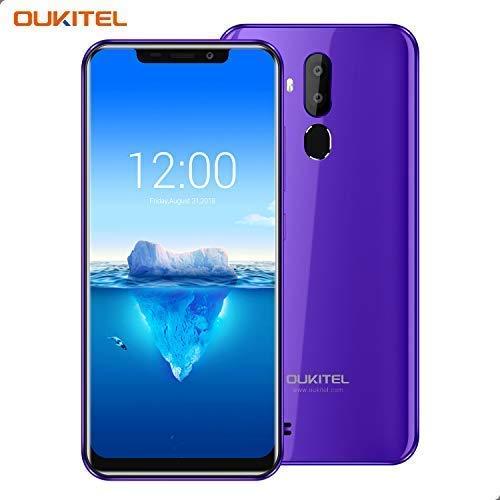 OUKITEL C12 Pro – 4G Smartphone Libre DE 6.18' HD 19:9 IPS con Antihuellas Quad-Core 2 + 16GB SIM Doble Telefonos Moviles Android 8.1 Cámara 8MP+5MP Face ID 3400mAh Batería Versión Europea - Morado
