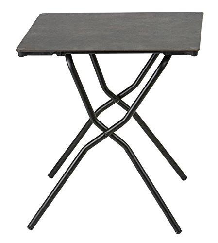 Lafuma Table de jardin carrée, 68 x 64 cm, 2 places, Pliable, Protection intempéries, Anytime, Couleur: Volcanic / Tube Noir, LFM2714-8232