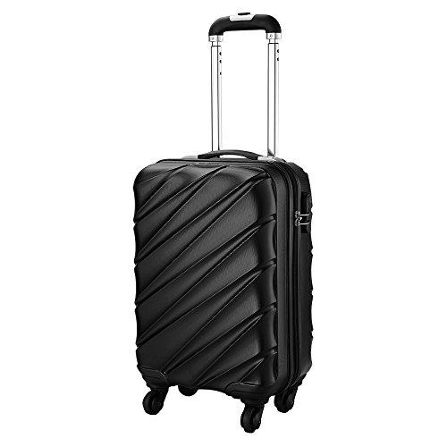 Bagage Cabin Max Tuscany 2.0 Ultra Léger 2.4kg ABS Coque Solide Voyage Transport Bagage Cabine Bagage à Main Valise à 4 Roulettes, Autorisée par Ryanair, Easyjet, et Bien d'Autres (Noir)