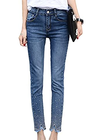 DQQ Women's Beaded Cotton Stretch Midrise Ankle Skinny Jeans UK 16 Blue