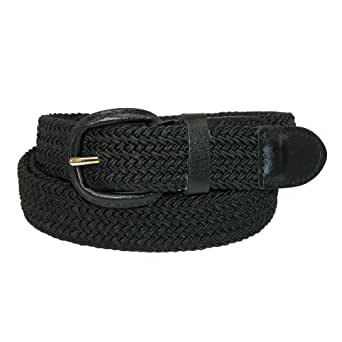 CTM Mens Elastic Covered Buckle Braided Stretch Belt (Big & Tall Available), 2XL 46-48, Black