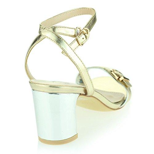 Femmes Dames Deux Parties Sangle de Cheville Orteil Ouvert Diamante Talon Haut Soir Casual Fête Mariage Bal de Promo Des Sandales Chaussures Taille Or