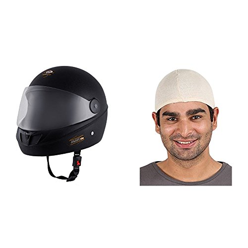 Autofy O2 Max DLX Full Face Helmet With Scratch Resistant Visor (Matte Black,M) and Autofy Unisex Multipurpose Hair Protector Dust Pollution Skull Cap (Biege) Bundle