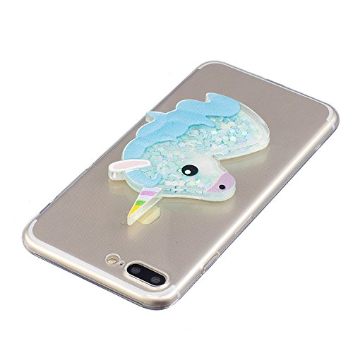 iPhone 7 Plus Coque, Voguecase TPU avec Sables Mouvants Intérieur, Etui Silicone Souple Transparent avec Absorption de Choc, Légère / Ajustement Parfait Coque Shell Housse Cover pour Apple iPhone 7 Pl Licorne 05/Bleu