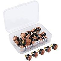 BBTO 20 Stück Schraub Leder 10 mm Queue Tipps mit Kunststoff Aufbewahrungsbox für Pool Queues und Snooker