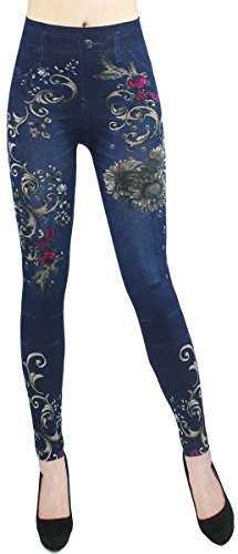 Waist Hose Jeans Optik Jeggings ideal für Frühjahr Sommer - OneSize Gr.36-42 - JL068 (JL0075-OneSize Gr.36-42) (Jean Leggings Für Frauen)