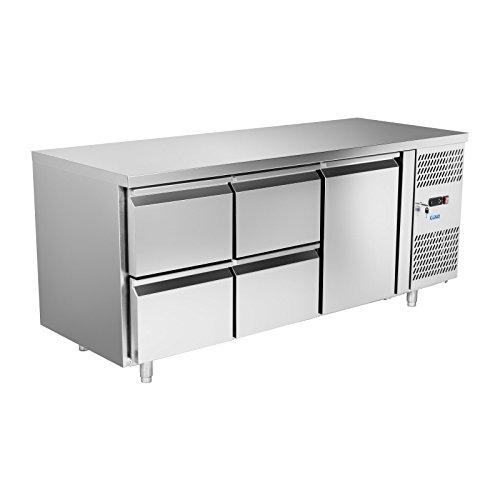 Royal Catering RCKT-180/70 Kühltisch Gastro Arbeitsschrank Edelstahl (180 x 70 x 84 cm, 300 W, 420 Liter, 2,5 kWh, 4 Schubladen,1 Tür)