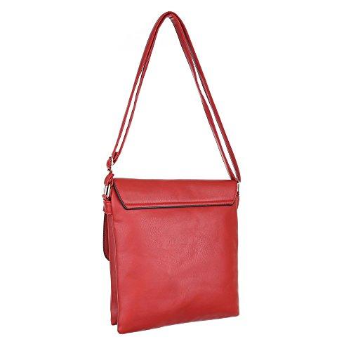 Damen Tasche, Schultertasche, Kleine Umhängetasche, Kunstleder, TA-B55 Rot