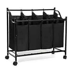 songmics laundry sorter cart trolley with sturdy metal. Black Bedroom Furniture Sets. Home Design Ideas
