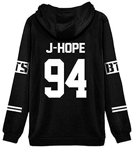 ShallGood Femme Automne Mode BTS Fans Sweats à Capuche à Manches Longues Varsity Rayé Encapuchonné Sweatshirt Décontractée Hooded Chemisiers Tops J-HOPE-94 Blanc FR 40