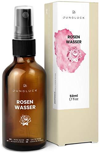 Rosenwasser - vegan & in Braunglas - Reinigung und Pflege für Gesicht & Haut durch das destillierte Wasser von Rosen - Junglück natürliche & nachhaltige Kosmetik made in Germany - 50 ml (Rose Gesichtswasser)
