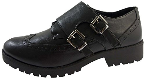 Lora Dora Womens Chunky Sole Work Shoes Girls School Shoes Faux Leather...
