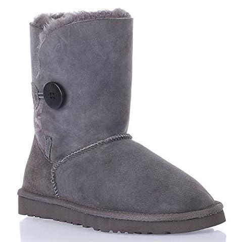 Augroo 5803 Bailey Button Boots Women Ladies Girls Winter Warm Sheepskin Boots Shearling Boots Snow Boot (Grey, EU39)