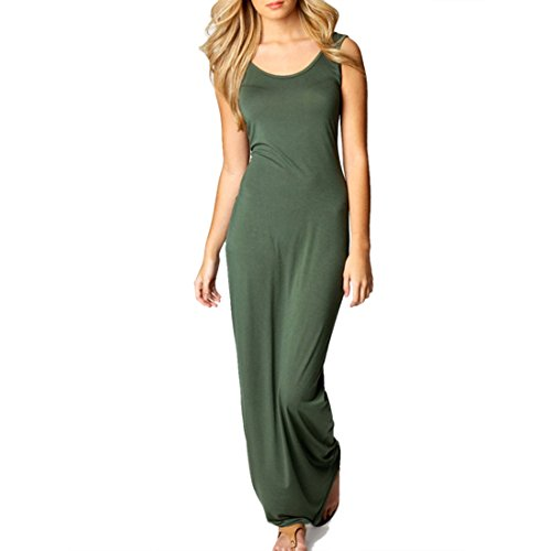 QIYUN.Z Sexy Solide Mode De Couleur Nouvelles Femmes Robes Sans Manches Gilet Long Maxi a Domicile Occasionnel Combinaisons Vert