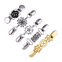 Cardigan Clip Bronze/Gold/Silver, 5 Pack Snap Cardigan Closure Clips Vintage Shawl Clips For Women Girls