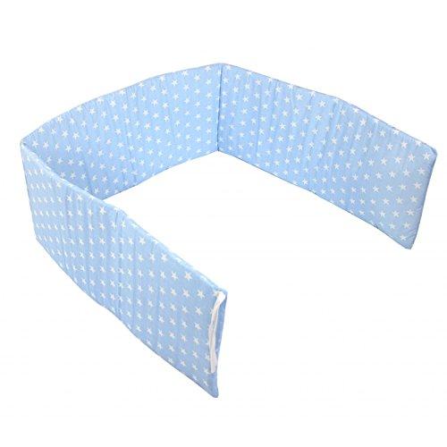 TupTam Babybett Kopfumrandung Kopfschutz Nestchen Kurz, Farbe: Sterne Blau, Größe: 180x30cm (für Babybett 120x60)
