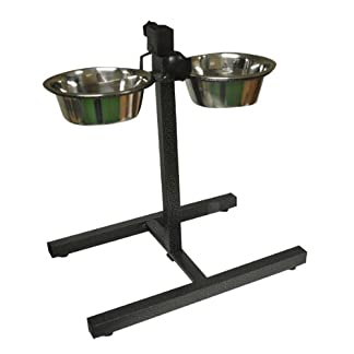 Paw Prints Stainless Steel Pet Bowl Set with Adjustable Stand 41NNWDTy 2B5L