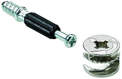Hettich 9220210 Verbindungsbeschlag (Möbelbeschlag) 15/30 mm Rastex - Bohr-Ø 15mm, Zinkdruckguss, 16 STK, verzinkt/blank