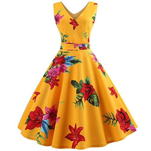KIMODO Damen Kleider Blumenmuster Kleider Rockabilly Partykleid Ärmellos Sommerkleid Swing Abendkleid Houndstooth Swing