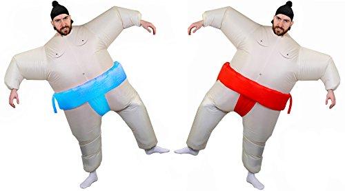 Déguisement de sumo Japonnais gonflable pour adulte avec la ceinture bleue. Idéal pour les combats de lutte lors d'un enterrement de vie de garçon ou de jeune fille.