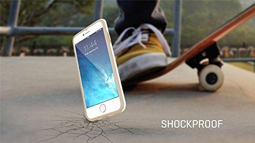 "iPhone 6 6s langlebige Schutzhülle Cover / Case / Hülle / Fall, True Color® Weißer Marmor [Kollektion Stein-Textur] Slim Hybrid Hartschale + Soft-TPU-Bumper 6 / 6s 4.7"" [True Protect Serie] 6. White Marble Gold Bumper"