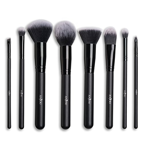 Make Up Pinsel Set Anjou 8pcs Professionelles Schminkpinsel Kosmetikpinsel Lidschatten Gesichtspinsel Eyeliner, schwarz, mit wasserdichtem Beutel